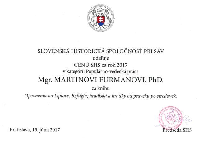 ocenenie slovenská historická spoločnosť